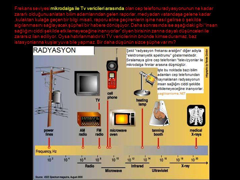 Frekans seviyesi mikrodalga ile Tv vericileri arasında olan cep telefonu radyasyonunun ne kadar zararlı olduğunu anlatan bilim adamlarından gelen raporlar, medyadan vatandaşa gelene kadar,kulaktan kulağa geçen bir bilgi misali, raporu eline geçirenlerin işine nasıl gelirse o şekilde algılanmasını sağlayacak şüpheli bir habere dönüşüyor.