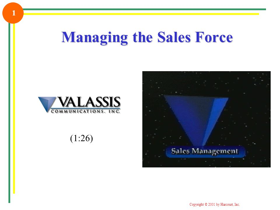 Copyright © 2001 by Harcourt, Inc. 1 Managing the Sales Force (1:26)