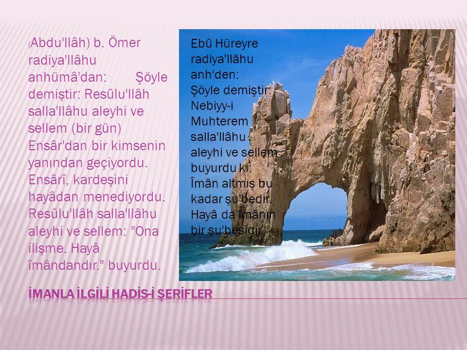 ( Abdu'llâh) b. Ömer radiya'llâhu anhümâ'dan: Şöyle demiştir: Resûlu'llâh salla'llâhu aleyhi ve sellem (bir gün) Ensâr'dan bir kimsenin yanından geçiy