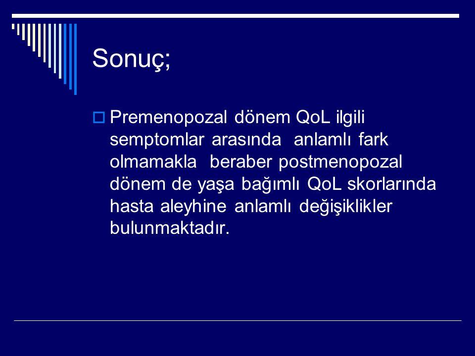 Sonuç;  Premenopozal dönem QoL ilgili semptomlar arasında anlamlı fark olmamakla beraber postmenopozal dönem de yaşa bağımlı QoL skorlarında hasta aleyhine anlamlı değişiklikler bulunmaktadır.