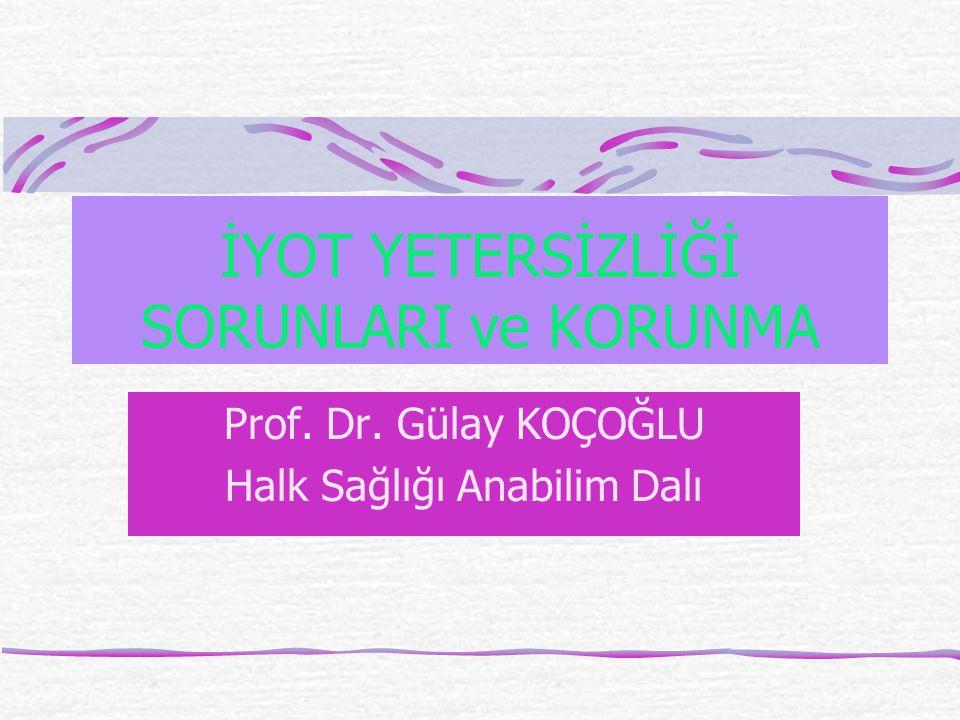 İYOT YETERSİZLİĞİ SORUNLARI ve KORUNMA Prof. Dr. Gülay KOÇOĞLU Halk Sağlığı Anabilim Dalı