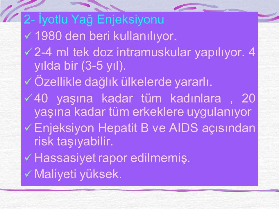 2- İyotlu Yağ Enjeksiyonu 1980 den beri kullanılıyor.