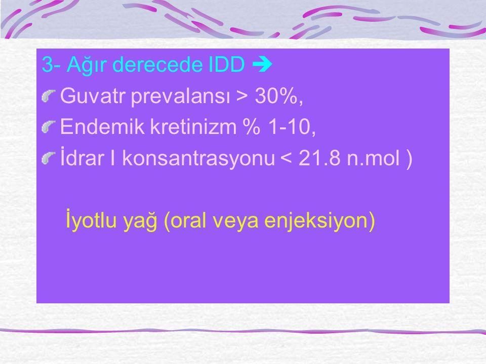 3- Ağır derecede IDD  Guvatr prevalansı > 30%, Endemik kretinizm % 1-10, İdrar I konsantrasyonu < 21.8 n.mol ) İyotlu yağ (oral veya enjeksiyon)