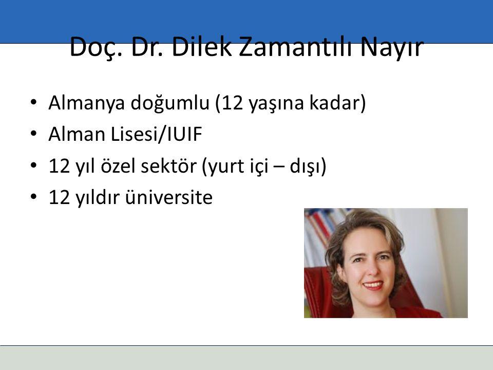 Doç. Dr. Dilek Zamantılı Nayır Almanya doğumlu (12 yaşına kadar) Alman Lisesi/IUIF 12 yıl özel sektör (yurt içi – dışı) 12 yıldır üniversite
