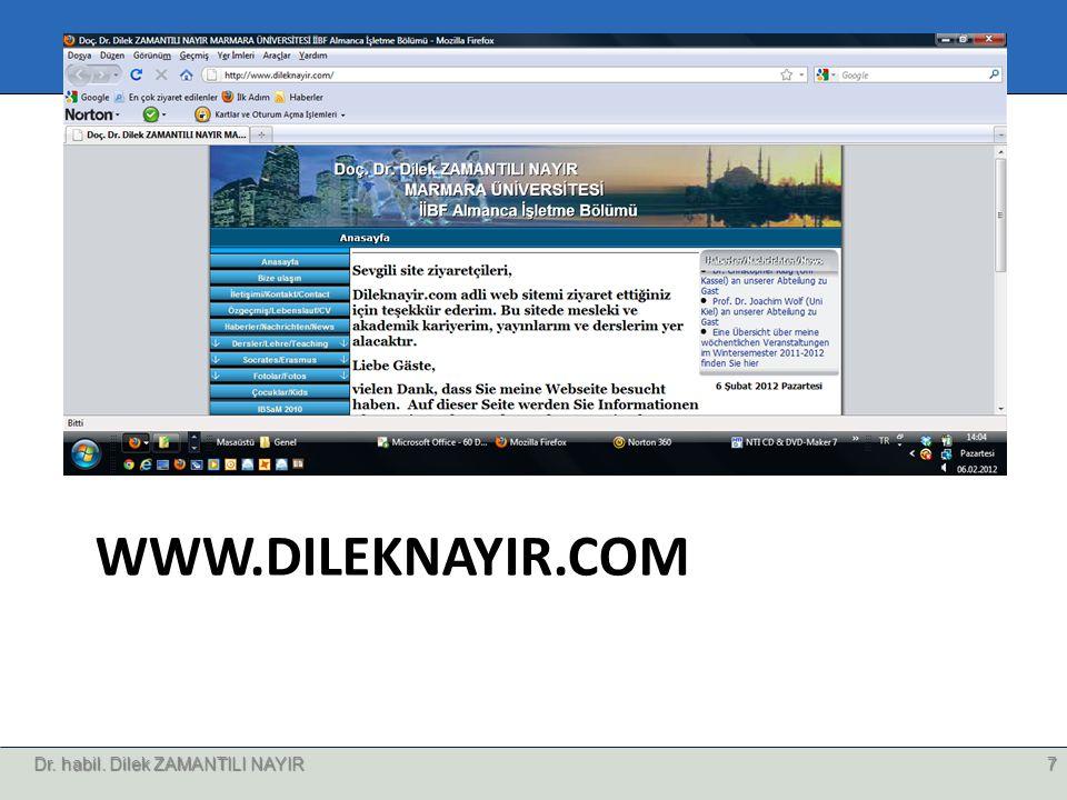 WWW.DILEKNAYIR.COM Dr. habil. Dilek ZAMANTILI NAYIR7