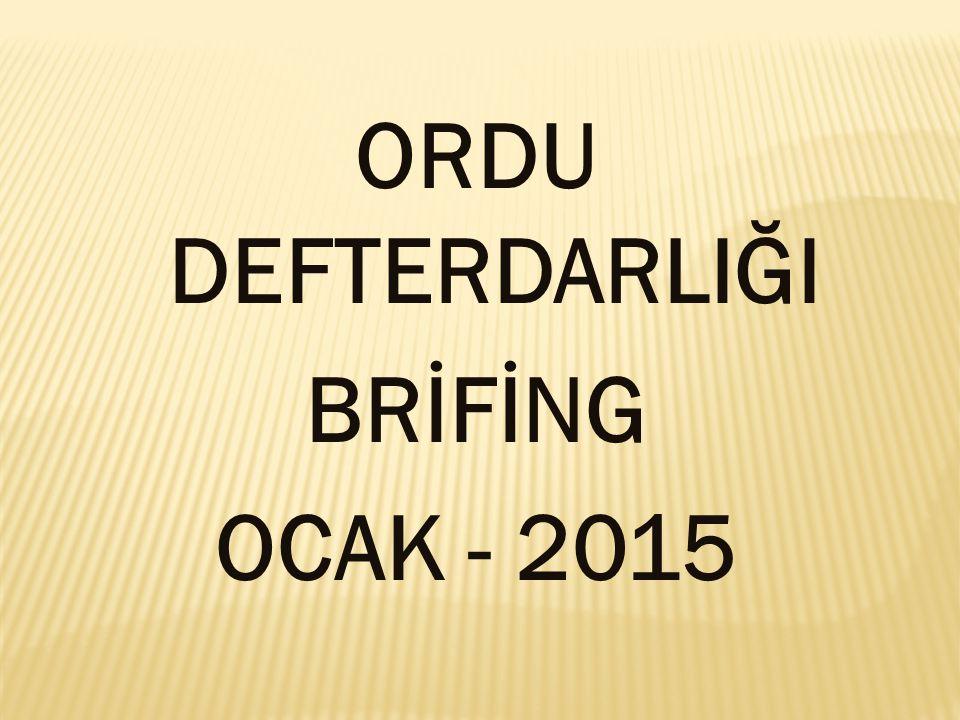 DEFTERDARLIĞIMIZ GELİR VE GİDER BİRİMİ KADROLARININ GENEL DURUMU (31/01/2015) DEFTERDARLIĞIMIZ GELİR VE GİDER BİRİMİ KADROLARININ GENEL DURUMU (31/01/2015) ATAMA ŞEKLİ DOLUBOŞ BAKANLIK ATAMALI 4919 VALİLİK ATAMALI 38690 TOPLAM435109