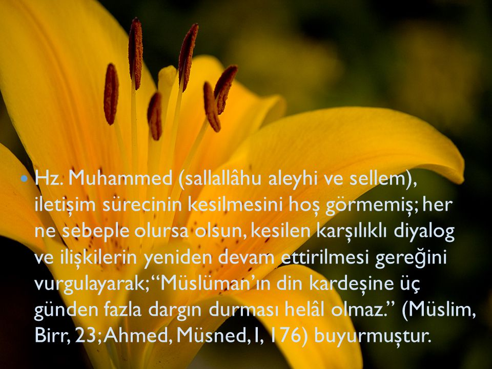 Hz. Muhammed (sallallâhu aleyhi ve sellem), iletişim sürecinin kesilmesini hoş görmemiş; her ne sebeple olursa olsun, kesilen karşılıklı diyalog ve il