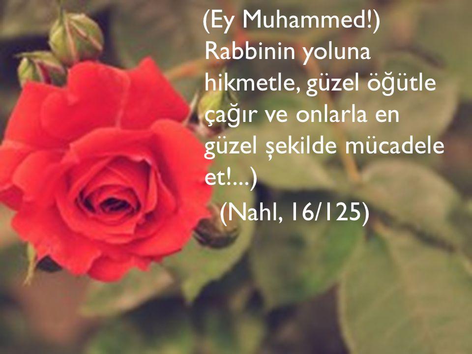 (Ey Muhammed!) Rabbinin yoluna hikmetle, güzel ö ğ ütle ça ğ ır ve onlarla en güzel şekilde mücadele et!...) (Nahl, 16/125)