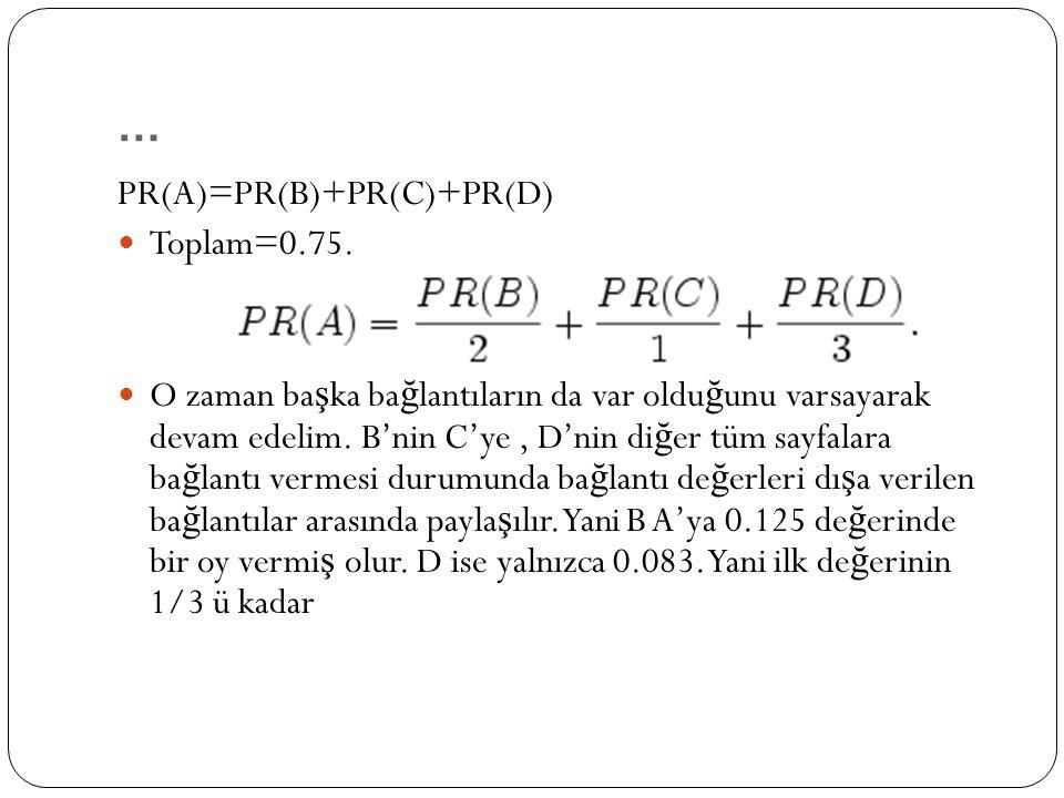 PR(A)=PR(B)+PR(C)+PR(D) Toplam=0.75.