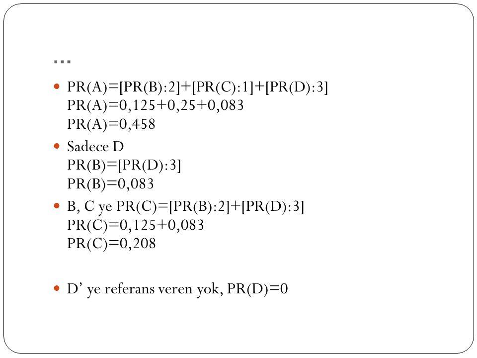 … PR(A)=[PR(B):2]+[PR(C):1]+[PR(D):3] PR(A)=0,125+0,25+0,083 PR(A)=0,458 Sadece D PR(B)=[PR(D):3] PR(B)=0,083 B, C ye PR(C)=[PR(B):2]+[PR(D):3] PR(C)=