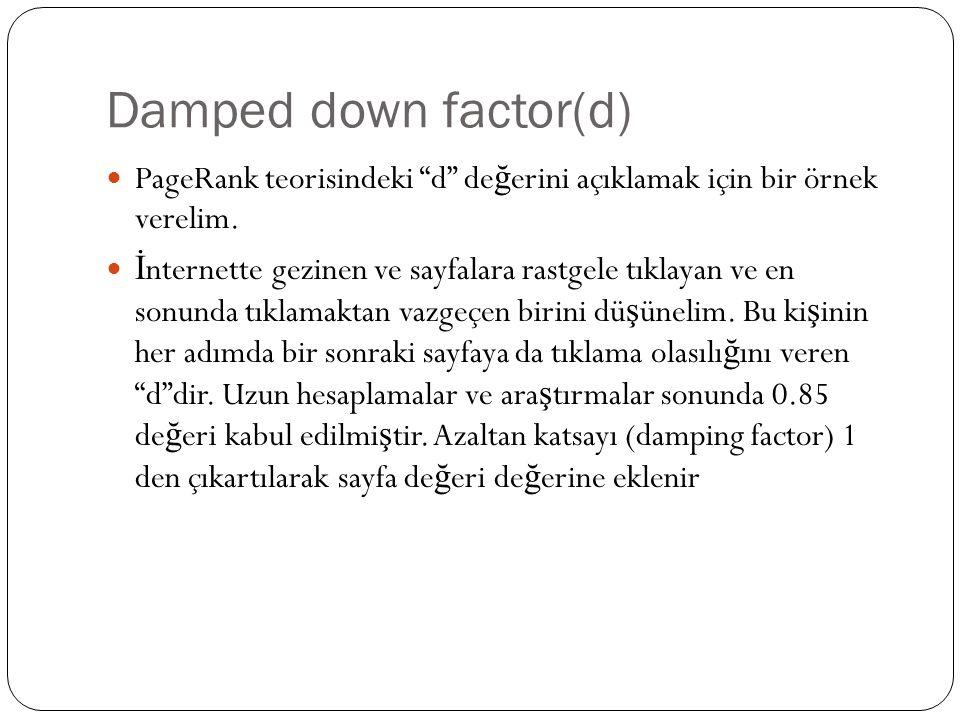Damped down factor(d) PageRank teorisindeki d de ğ erini açıklamak için bir örnek verelim.