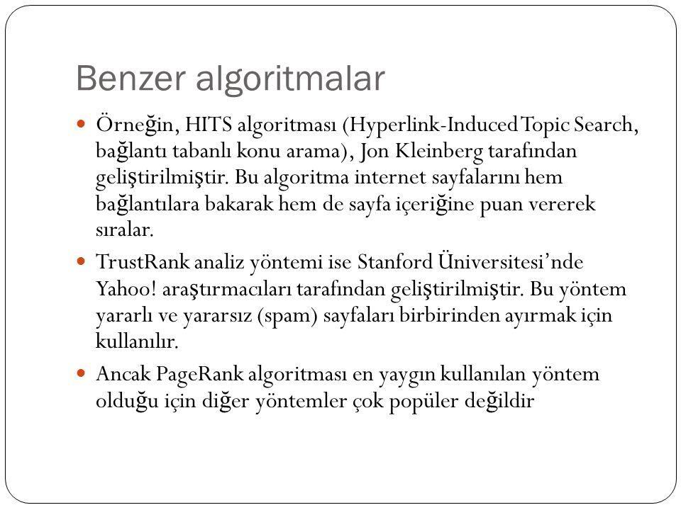 Benzer algoritmalar Örne ğ in, HITS algoritması (Hyperlink-Induced Topic Search, ba ğ lantı tabanlı konu arama), Jon Kleinberg tarafından geli ş tirilmi ş tir.