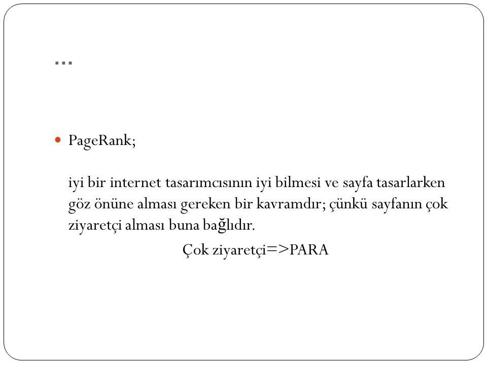… PageRank; iyi bir internet tasarımcısının iyi bilmesi ve sayfa tasarlarken göz önüne alması gereken bir kavramdır; çünkü sayfanın çok ziyaretçi alması buna ba ğ lıdır.