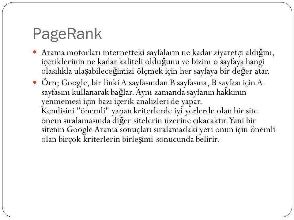 PageRank Önemli, yüksek kalitesi olan siteler, Google ın her arama yapıldı ğ ında hatırladı ğ ı, daha yüksek PageRank a (Sayfa Sıralaması) sahip olurlar.