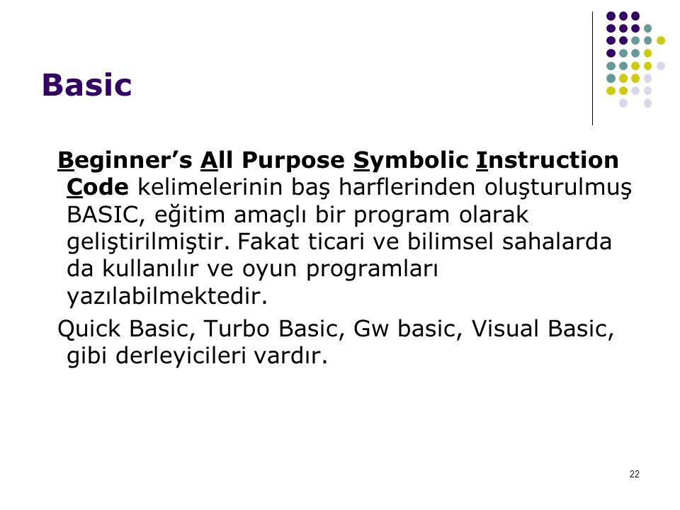 22 Basic Beginner's All Purpose Symbolic Instruction Code kelimelerinin baş harflerinden oluşturulmuş BASIC, eğitim amaçlı bir program olarak geliştir