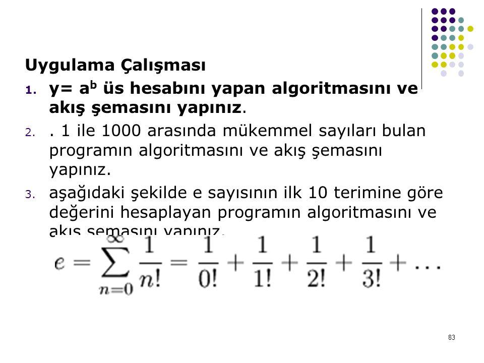 83 Uygulama Çalışması 1. y= a b üs hesabını yapan algoritmasını ve akış şemasını yapınız. 2.. 1 ile 1000 arasında mükemmel sayıları bulan programın al