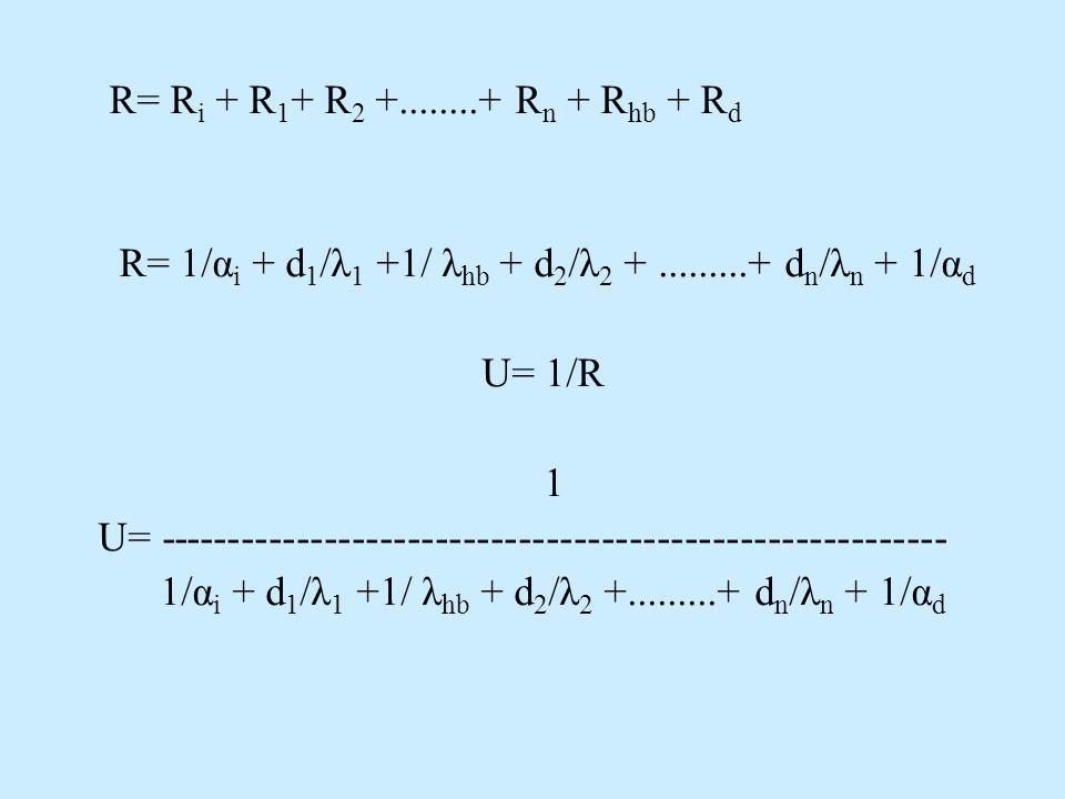 R= R i + R 1 + R 2 +........+ R n + R hb + R d R= 1/α i + d 1 /λ 1 +1/ λ hb + d 2 /λ 2 +.........+ d n /λ n + 1/α d U= 1/R 1 U= ----------------------