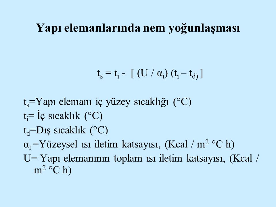 Yapı elemanlarında nem yoğunlaşması t s = t i - [ (U / α i ) (t i – t d) ] t s =Yapı elemanı iç yüzey sıcaklığı (°C) t i = İç sıcaklık (°C) t d =Dış s