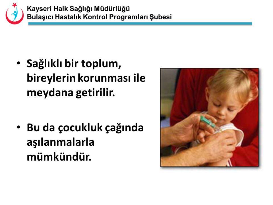 Sağlıklı bir toplum, bireylerin korunması ile meydana getirilir. Bu da çocukluk çağında aşılanmalarla mümkündür.
