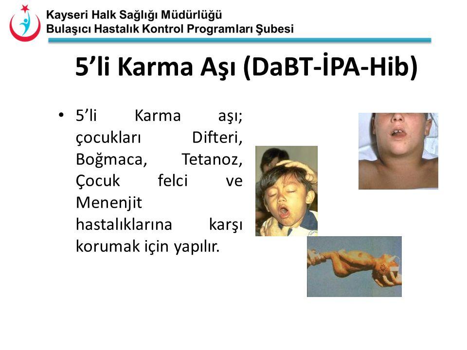 5'li Karma Aşı (DaBT-İPA-Hib) 5'li Karma aşı; çocukları Difteri, Boğmaca, Tetanoz, Çocuk felci ve Menenjit hastalıklarına karşı korumak için yapılır.