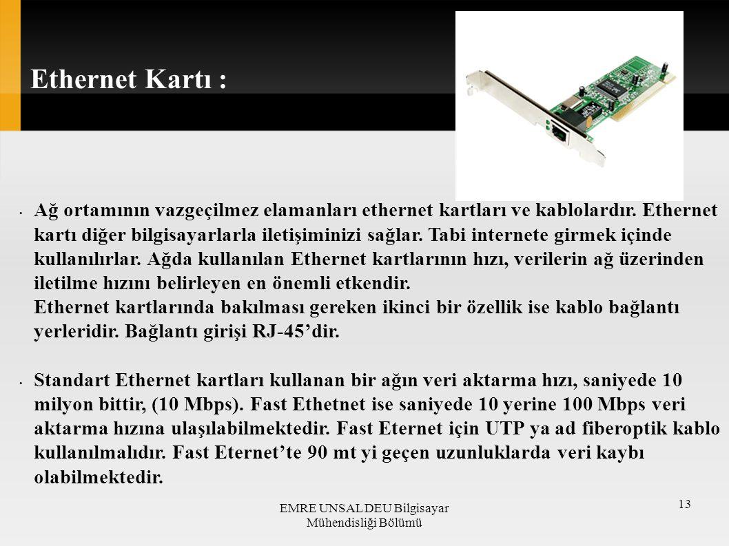 Ağ ortamının vazgeçilmez elamanları ethernet kartları ve kablolardır. Ethernet kartı diğer bilgisayarlarla iletişiminizi sağlar. Tabi internete girmek