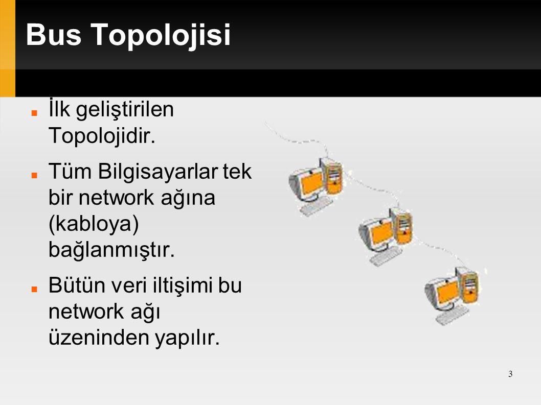 Bus Topolojisi İlk geliştirilen Topolojidir. Tüm Bilgisayarlar tek bir network ağına (kabloya) bağlanmıştır. Bütün veri iltişimi bu network ağı üzenin