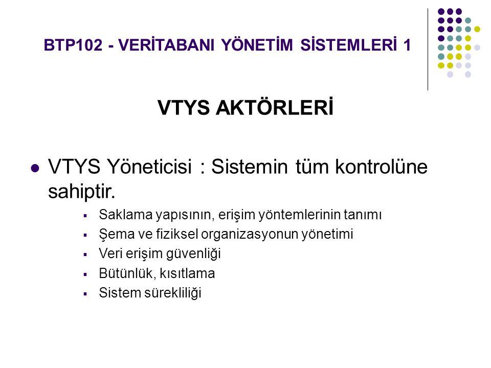 BTP102 - VERİTABANI YÖNETİM SİSTEMLERİ 1 VTYS AKTÖRLERİ VTYS Yöneticisi : Sistemin tüm kontrolüne sahiptir.  Saklama yapısının, erişim yöntemlerinin