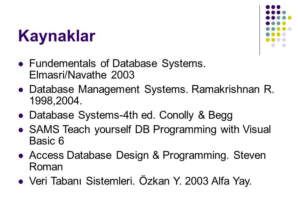 Kaynaklar Fundementals of Database Systems. Elmasri/Navathe 2003 Database Management Systems. Ramakrishnan R. 1998,2004. Database Systems-4th ed. Cono