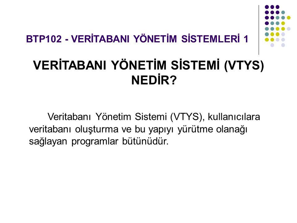 BTP102 - VERİTABANI YÖNETİM SİSTEMLERİ 1 VERİTABANI YÖNETİM SİSTEMİ (VTYS) NEDİR? Veritabanı Yönetim Sistemi (VTYS), kullanıcılara veritabanı oluşturm