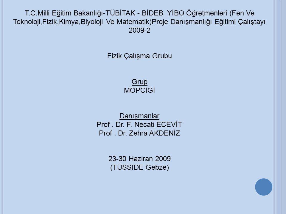 T.C.Milli Eğitim Bakanlığı-TÜBİTAK - BİDEB YİBO Öğretmenleri (Fen Ve Teknoloji,Fizik,Kimya,Biyoloji Ve Matematik)Proje Danışmanlığı Eğitimi Çalıştayı