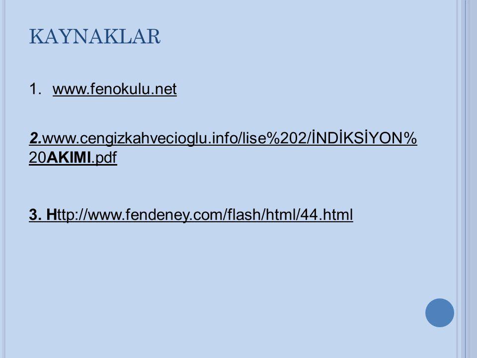 KAYNAKLAR 1.www.fenokulu.net 2.www.cengizkahvecioglu.info/lise%202/İNDİKSİYON% 20AKIMI.pdf 3. Http://www.fendeney.com/flash/html/44.html