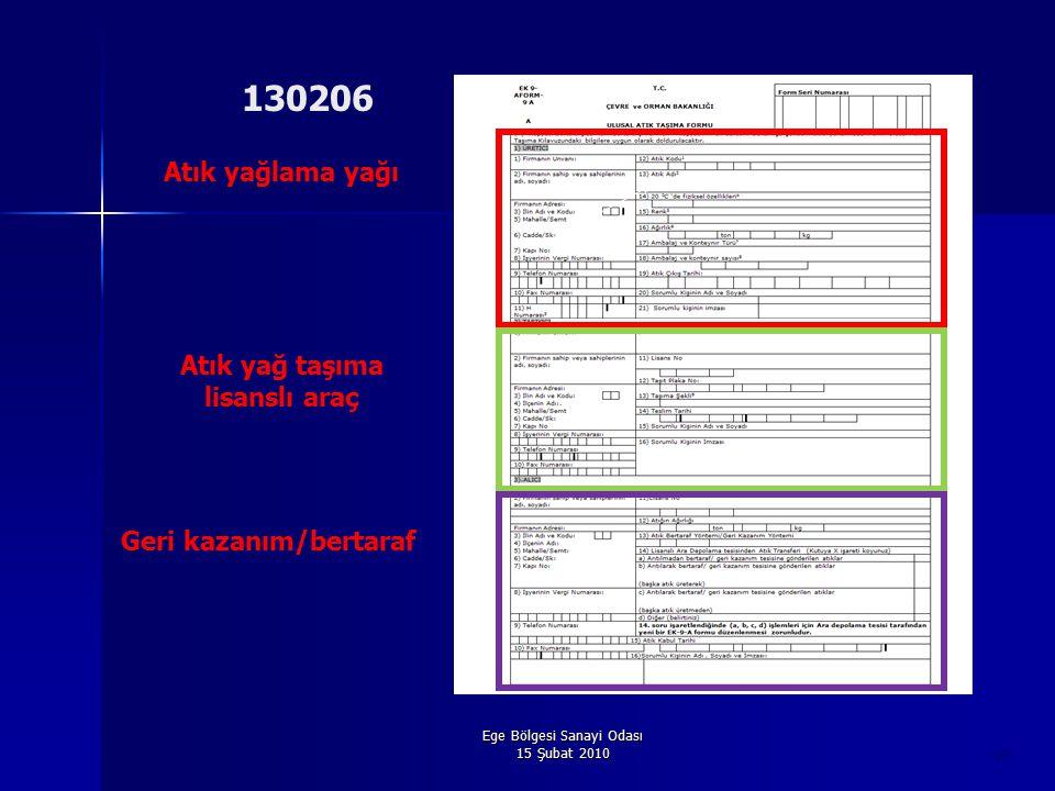 Ege Bölgesi Sanayi Odası 15 Şubat 2010 49 Atık yağlama yağı Atık yağ taşıma lisanslı araç Geri kazanım/bertaraf 130206