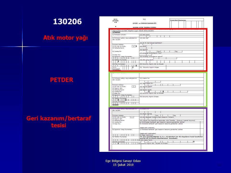 Ege Bölgesi Sanayi Odası 15 Şubat 2010 50 Atık motor yağı PETDER Geri kazanım/bertaraf tesisi 130206