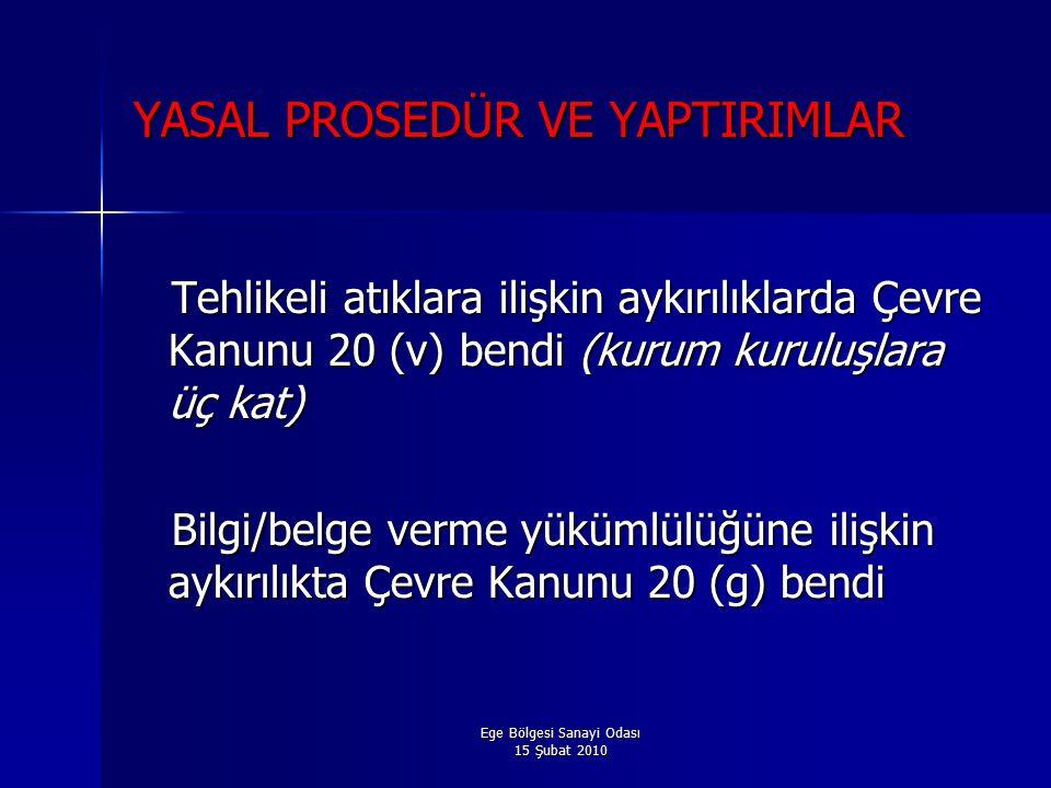 Ege Bölgesi Sanayi Odası 15 Şubat 2010 YASAL PROSEDÜR VE YAPTIRIMLAR Tehlikeli atıklara ilişkin aykırılıklarda Çevre Kanunu 20 (v) bendi (kurum kuruluşlara üç kat) Tehlikeli atıklara ilişkin aykırılıklarda Çevre Kanunu 20 (v) bendi (kurum kuruluşlara üç kat) Bilgi/belge verme yükümlülüğüne ilişkin aykırılıkta Çevre Kanunu 20 (g) bendi Bilgi/belge verme yükümlülüğüne ilişkin aykırılıkta Çevre Kanunu 20 (g) bendi