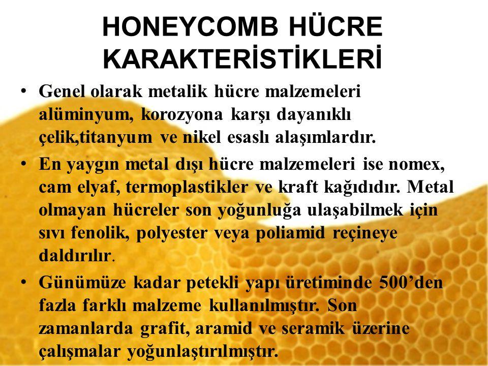 HONEYCOMB HÜCRE KARAKTERİSTİKLERİ Genel olarak metalik hücre malzemeleri alüminyum, korozyona karşı dayanıklı çelik,titanyum ve nikel esaslı alaşımlardır.
