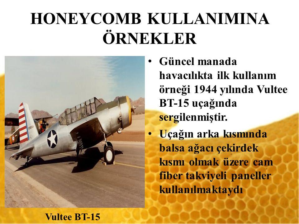 HONEYCOMB KULLANIMINA ÖRNEKLER Güncel manada havacılıkta ilk kullanım örneği 1944 yılında Vultee BT-15 uçağında sergilenmiştir. Uçağın arka kısmında b