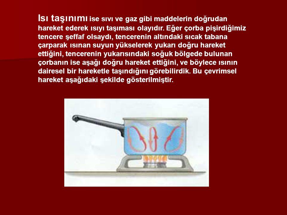 Isı taşınımı ise sıvı ve gaz gibi maddelerin doğrudan hareket ederek ısıyı taşıması olayıdır.