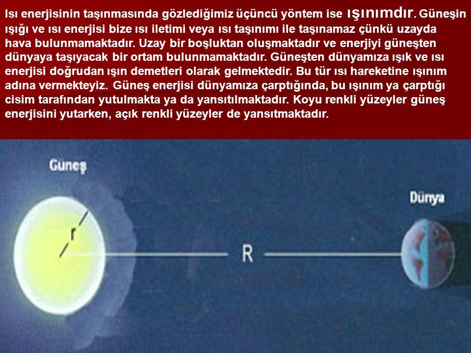 Isı enerjisinin taşınmasında gözlediğimiz üçüncü yöntem ise ışınımdır.