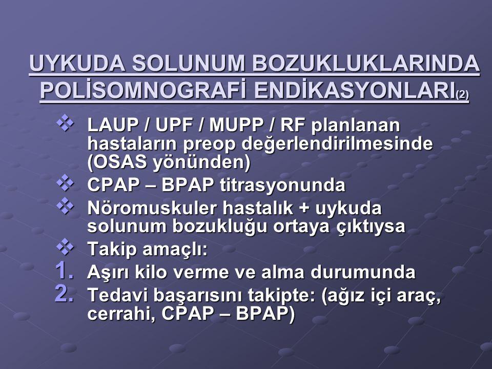 UYKUDA SOLUNUM BOZUKLUKLARINDA POLİSOMNOGRAFİ ENDİKASYONLARI (2)  LAUP / UPF / MUPP / RF planlanan hastaların preop değerlendirilmesinde (OSAS yönünd