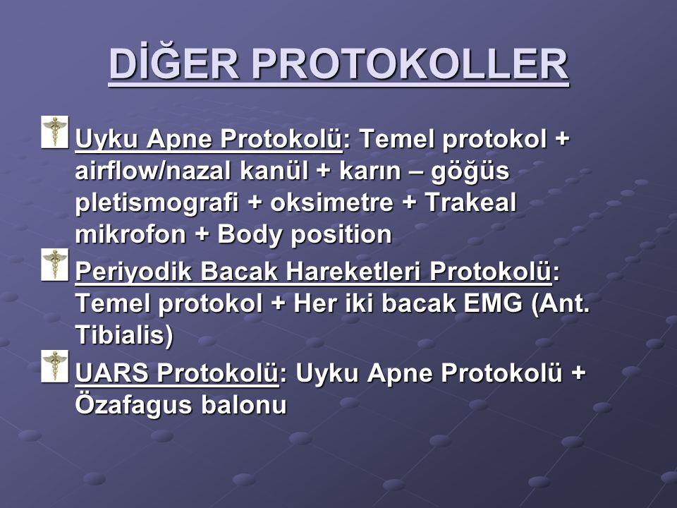 DİĞER PROTOKOLLER Uyku Apne Protokolü: Temel protokol + airflow/nazal kanül + karın – göğüs pletismografi + oksimetre + Trakeal mikrofon + Body positi