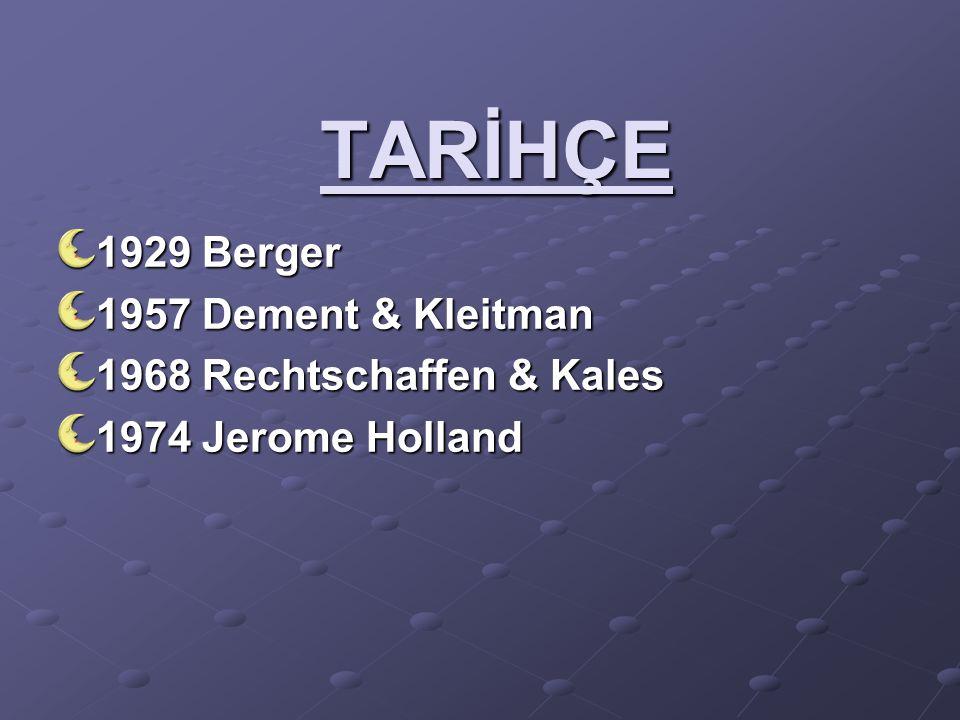 TARİHÇE 1929 Berger 1957 Dement & Kleitman 1968 Rechtschaffen & Kales 1974 Jerome Holland