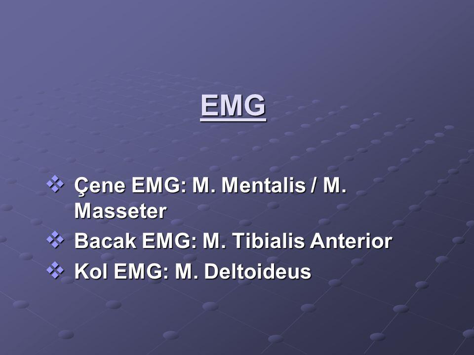 EMG  Çene EMG: M. Mentalis / M. Masseter  Bacak EMG: M. Tibialis Anterior  Kol EMG: M. Deltoideus