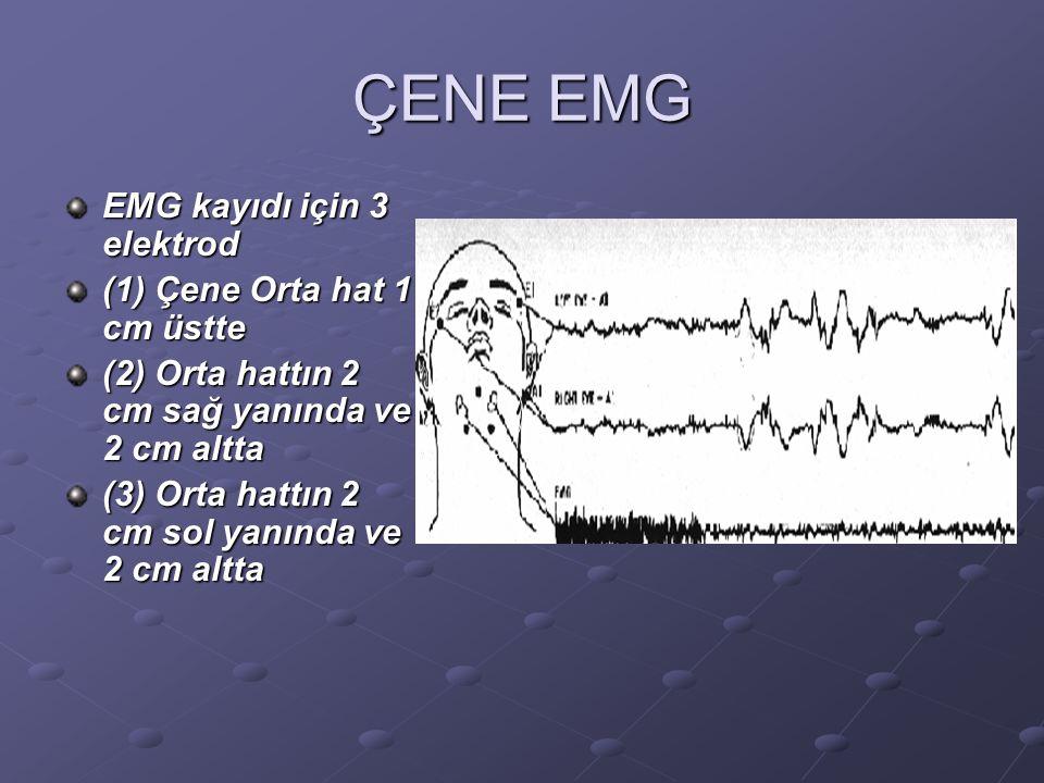 ÇENE EMG EMG kayıdı için 3 elektrod (1) Çene Orta hat 1 cm üstte (2) Orta hattın 2 cm sağ yanında ve 2 cm altta (3) Orta hattın 2 cm sol yanında ve 2