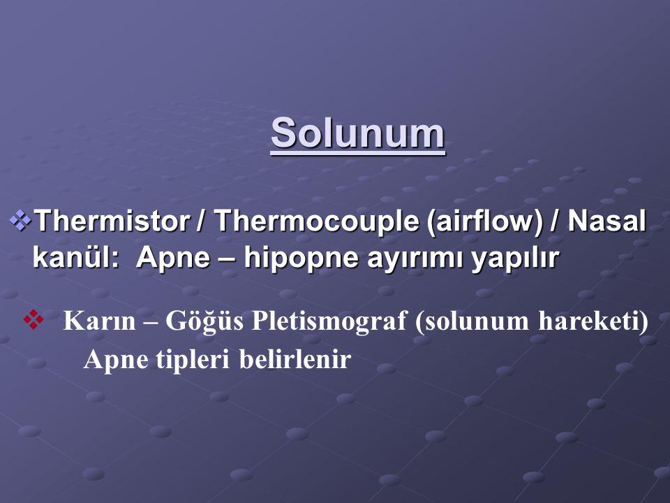 Solunum  Thermistor / Thermocouple (airflow) / Nasal kanül: Apne – hipopne ayırımı yapılır  Karın – Göğüs Pletismograf (solunum hareketi) Apne tiple