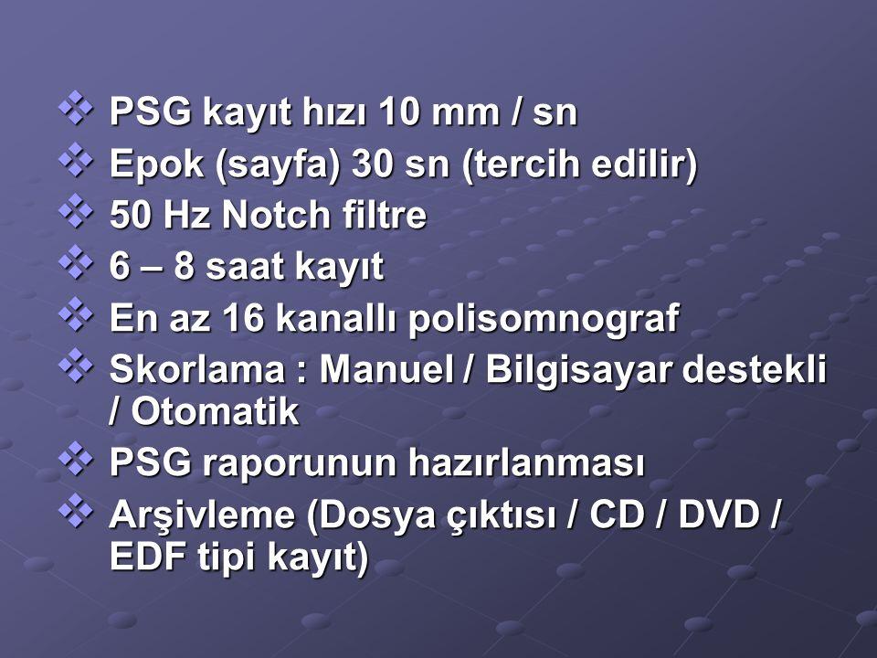  PSG kayıt hızı 10 mm / sn  Epok (sayfa) 30 sn (tercih edilir)  50 Hz Notch filtre  6 – 8 saat kayıt  En az 16 kanallı polisomnograf  Skorlama :