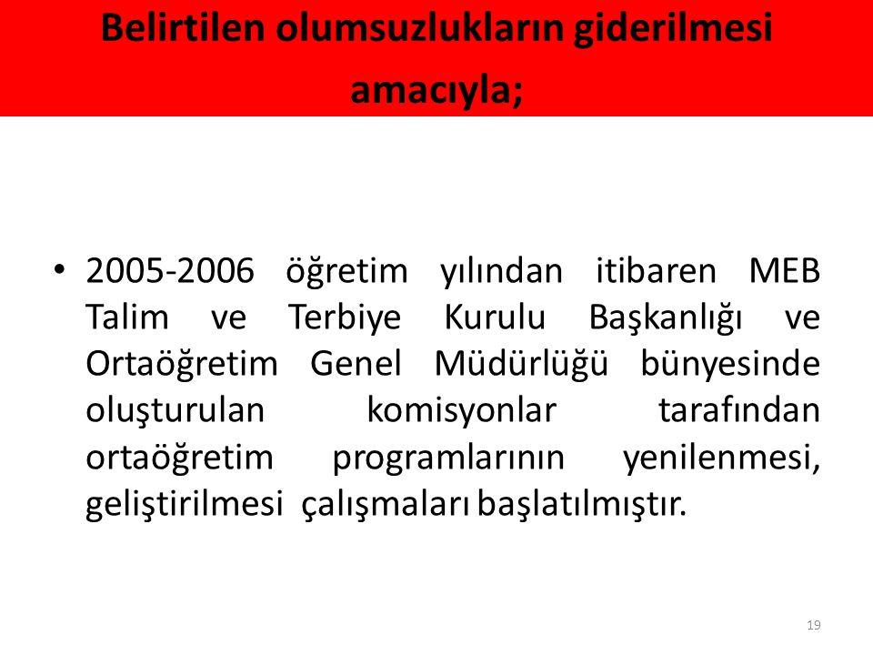 Belirtilen olumsuzlukların giderilmesi amacıyla; 2005-2006 öğretim yılından itibaren MEB Talim ve Terbiye Kurulu Başkanlığı ve Ortaöğretim Genel Müdür