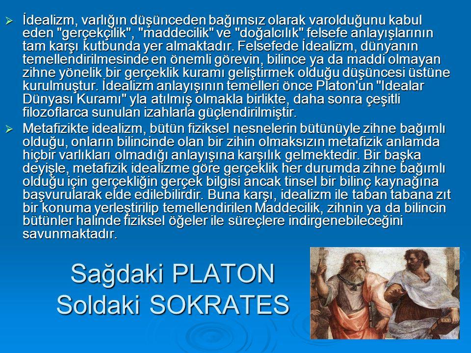 Sağdaki PLATON Soldaki SOKRATES  İdealizm, varlığın düşünceden bağımsız olarak varolduğunu kabul eden gerçekçilik , maddecilik ve doğalcılık felsefe anlayışlarının tam karşı kutbunda yer almaktadır.