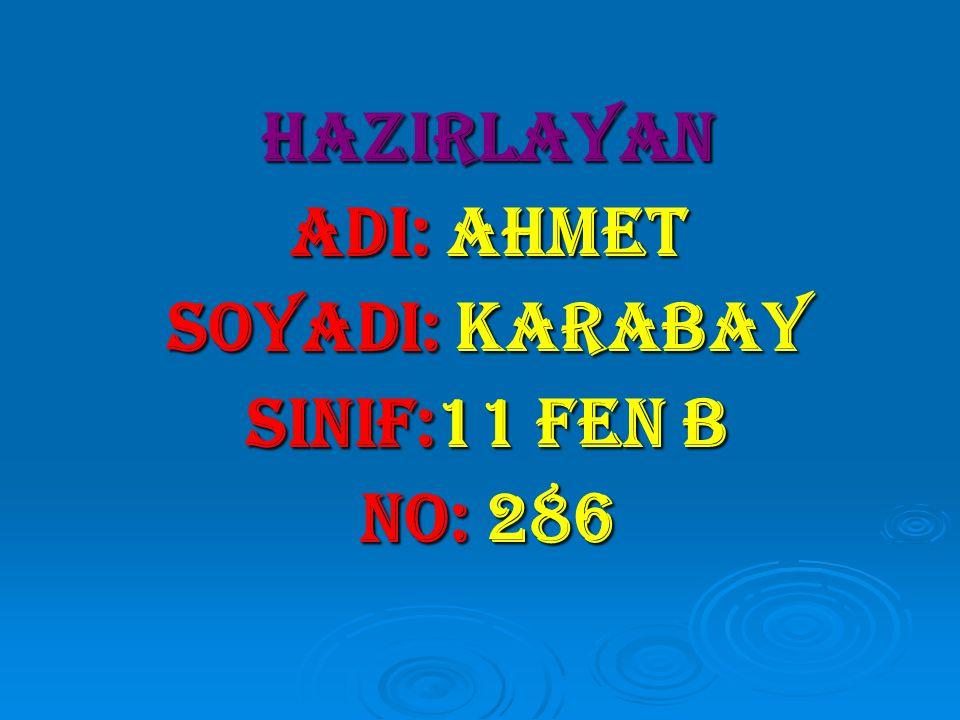 HAZIRLAYAN adI: ahmet SOYADI: karabay SINIF:11 fen b NO: 286