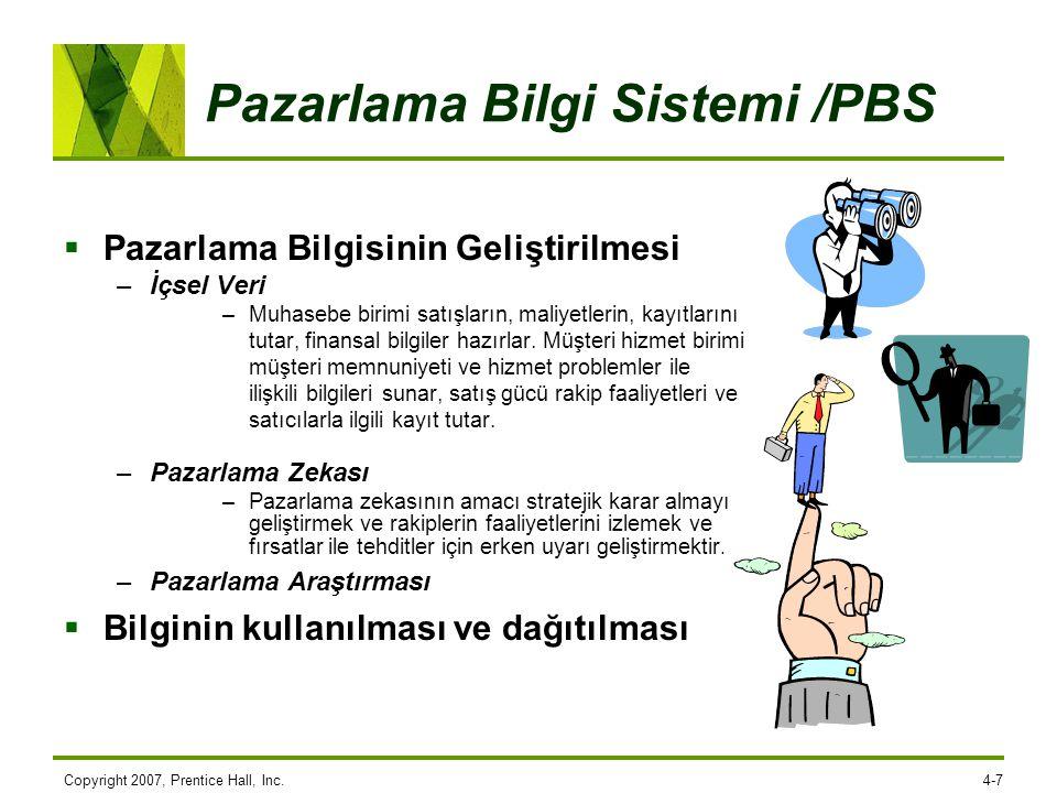 Pazarlama Bilgi Sistemi /PBS  Pazarlama Bilgisinin Geliştirilmesi –İçsel Veri –Muhasebe birimi satışların, maliyetlerin, kayıtlarını tutar, finansal