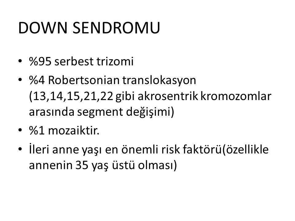 DOWN SENDROMU %95 serbest trizomi %4 Robertsonian translokasyon (13,14,15,21,22 gibi akrosentrik kromozomlar arasında segment değişimi) %1 mozaiktir.